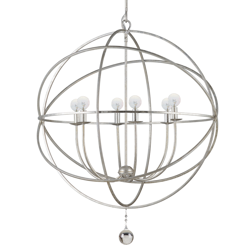 Hinsdale Lighting in Hinsdale, Illinois, United States,  23F02, Crystorama Solaris 6 Light Silver Sphere Chandelier, Solaris